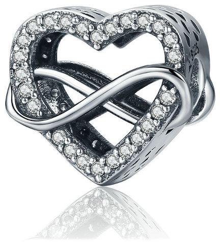 Rodowany srebrny charms do pandora nieskończona miłość serce heart infinity srebro 925 NEW113