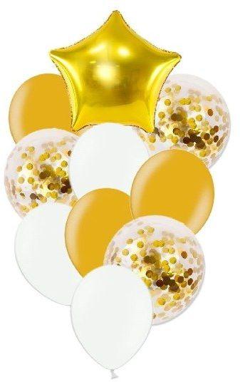 Zestaw balonów słupek złote i białe 10 sztuk SL7
