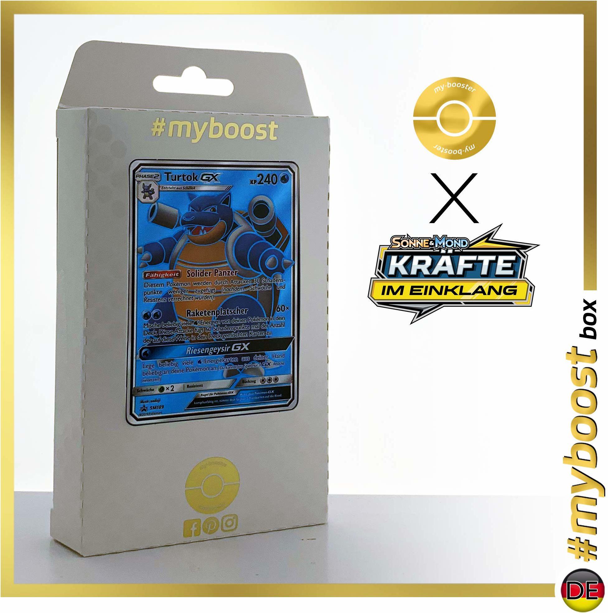 Turtok-GX SM189 Full Art  #myboost X słońce i księżyc 10 sił w harmonii  pudełko z 10 niemieckimi kartkami Pokémon