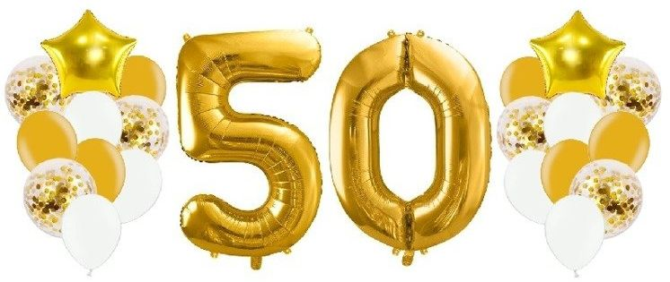 Balony na 50 urodziny złote 22 sztuki A13