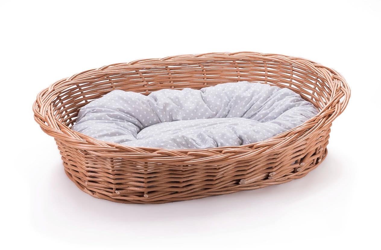 Leżak wiklinowy dla psa kota i innych zwierząt kosz z poduszką