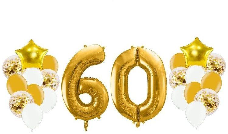 Balony na 60 urodziny złote 22 sztuki A14