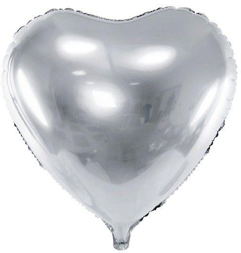 Balon foliowy Serce srebrne 45cm 1 sztuka FB9M-018