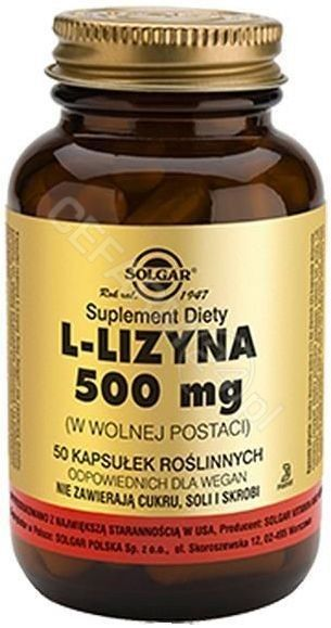 SOLGAR L-lizyna 500 mg 50 kapsułek