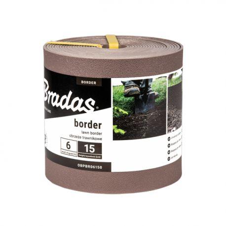Obrzeże trawnikowe BORDER proste 6m/15cm brązowe Bradas 7583