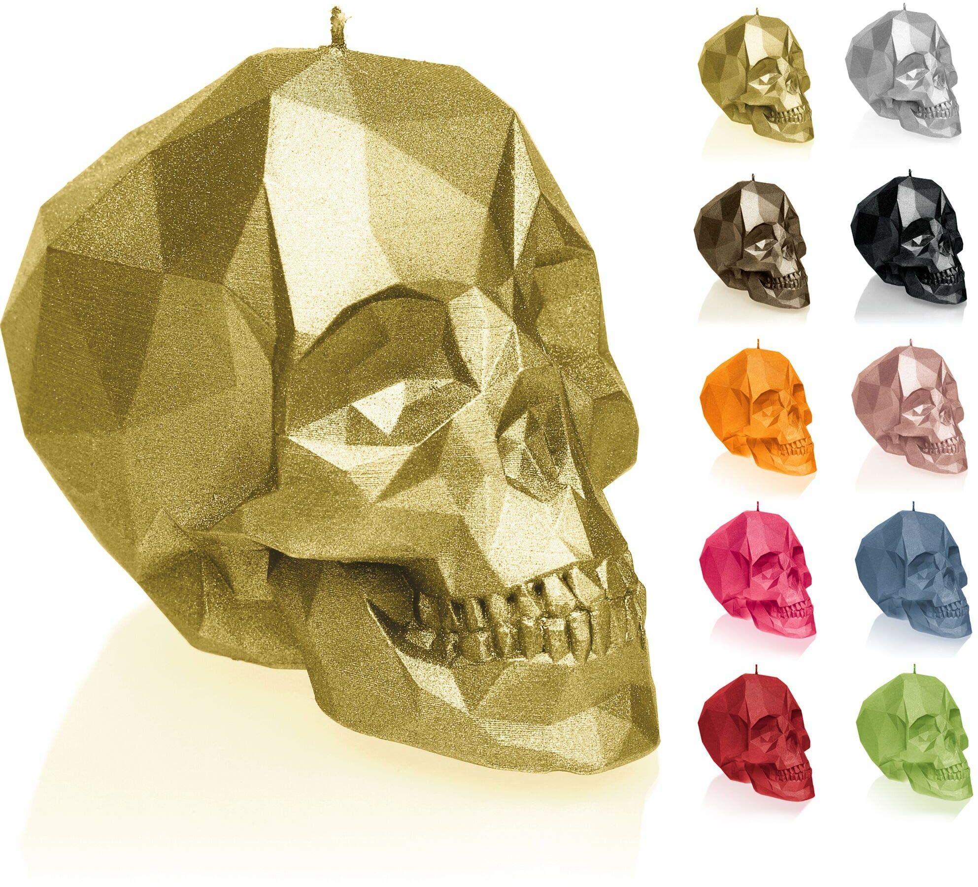 Candellana Świeca mała czaszka Low Poly wysokość: 7,5 cm klasyczne złoto trupia czaszka wykonana ręcznie w UE 5903104883362, klasyczne złoto, 7,5 x 10 x 6,5 cm