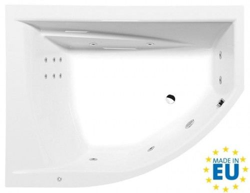 Wanna asymetryczna 170x130x50 biała z hydromasażem, akrylowa MADE IN UE, TANDEM L HYDRO lewa