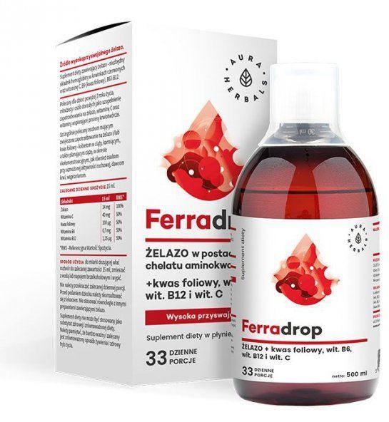 Ferradrop, Żelazo + Kwas Foliowy, Aura Herbals, 500ml