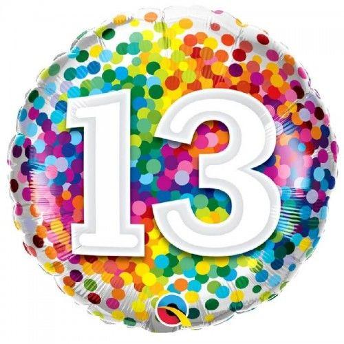 Balon foliowy na 13 urodziny Confetti