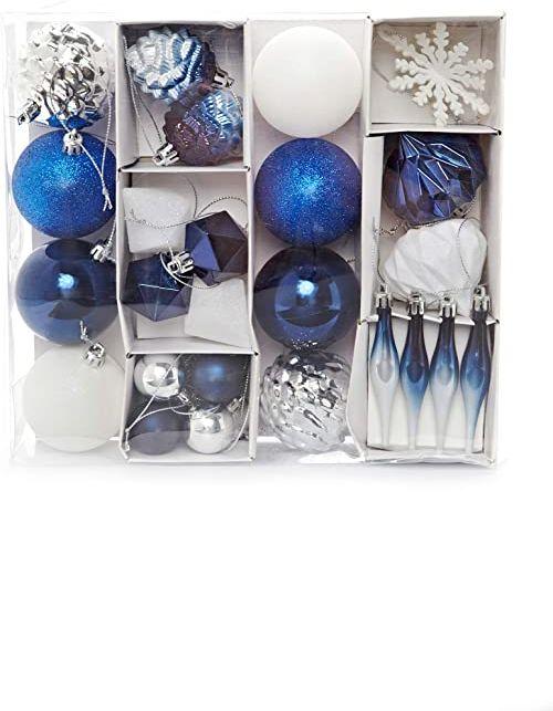 HEITMANN DECO Zestaw 29 bombek choinkowych  ozdoby bożonarodzeniowe, niebieskie, srebrne, białe do zawieszenia, z tworzywa sztucznego