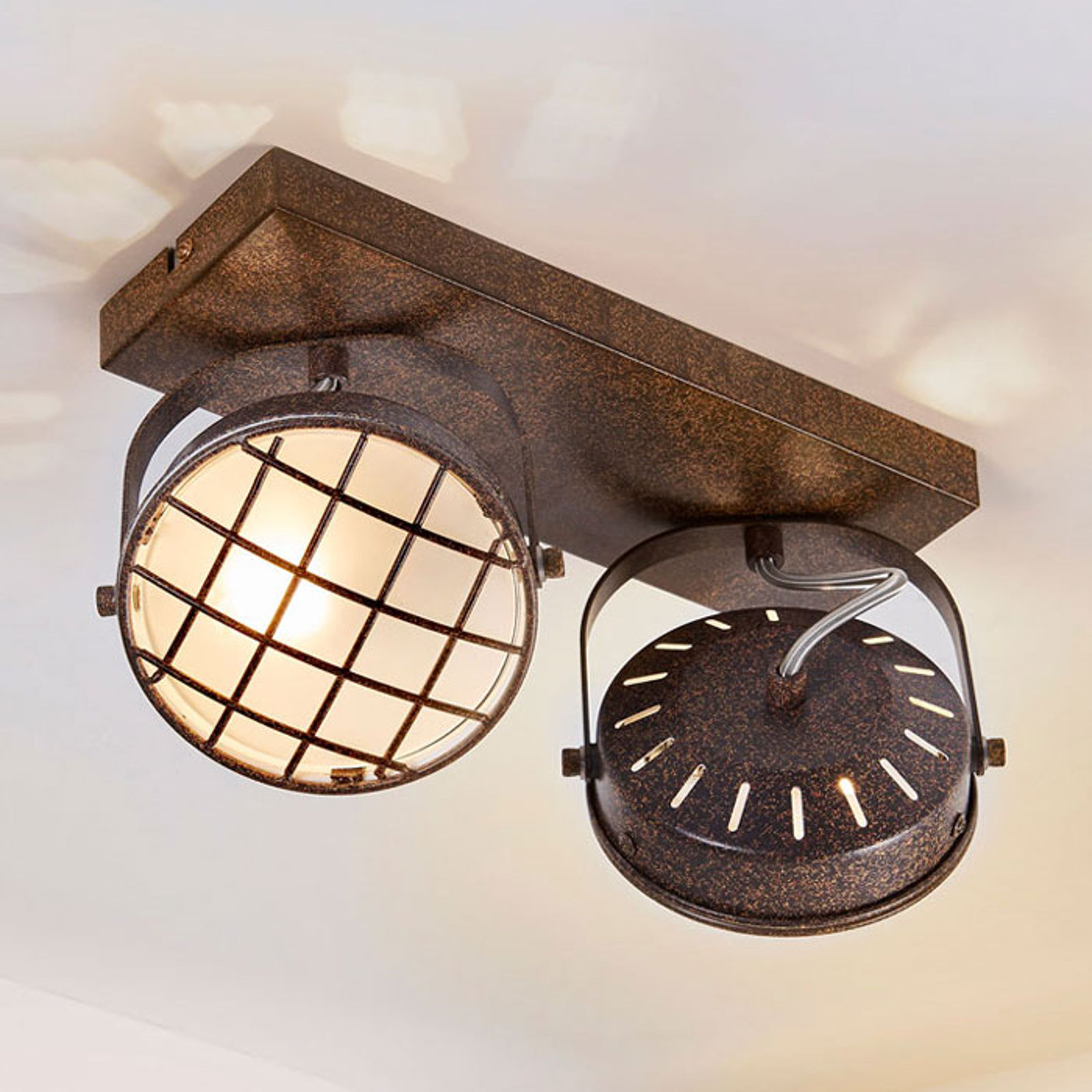 Rdzawobrązowa lampa sufitowa LED Tamin, 2-punktowa