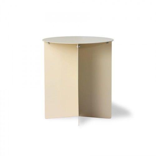 Okrągły stolik kawowy metalowy kremowy HK Living (45)