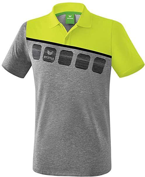 Erima koszulka polo dla dzieci 5-c uniseks Grey Marl/Lime Pop/Black 128