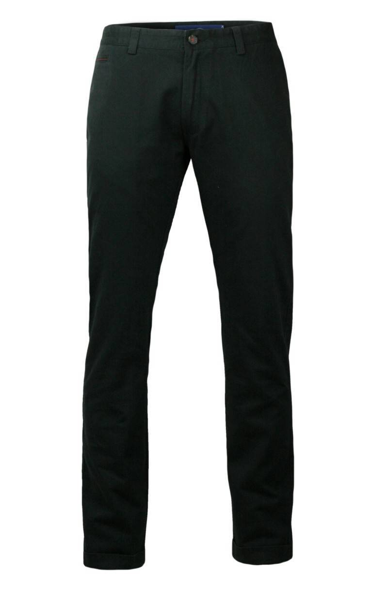 Eleganckie Spodnie Męskie, Chinosy - 100% BAWEŁNA, Mankiety, Czarne SPCHIAO15M4C01czar