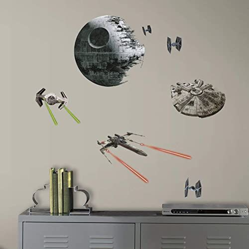 RoomMates Możliwość zmiany położenia odcinka Gwiezdnych Wojen VII: Naklejki ścienne z klasycznymi statkami, winyl, Multi, 27 x 13 x 2,5 cm