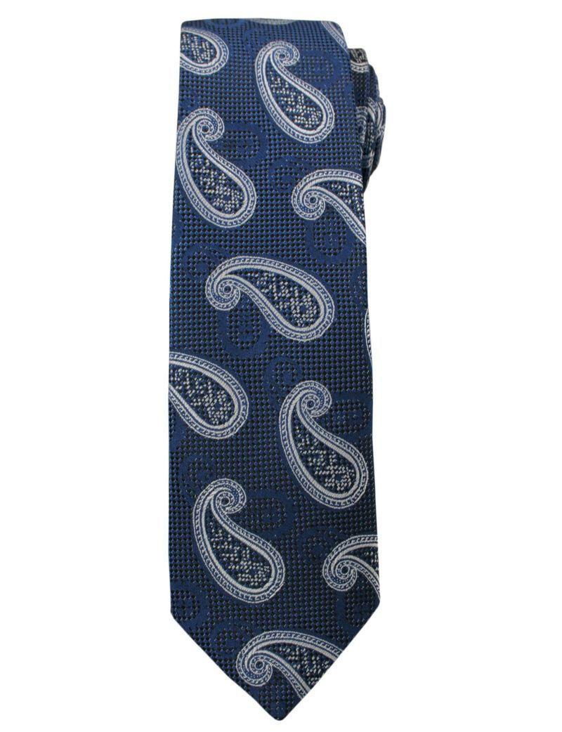 Modny i Elegancki Krawat Alties - Granatowy we Wzór Paisley KRALTS0166