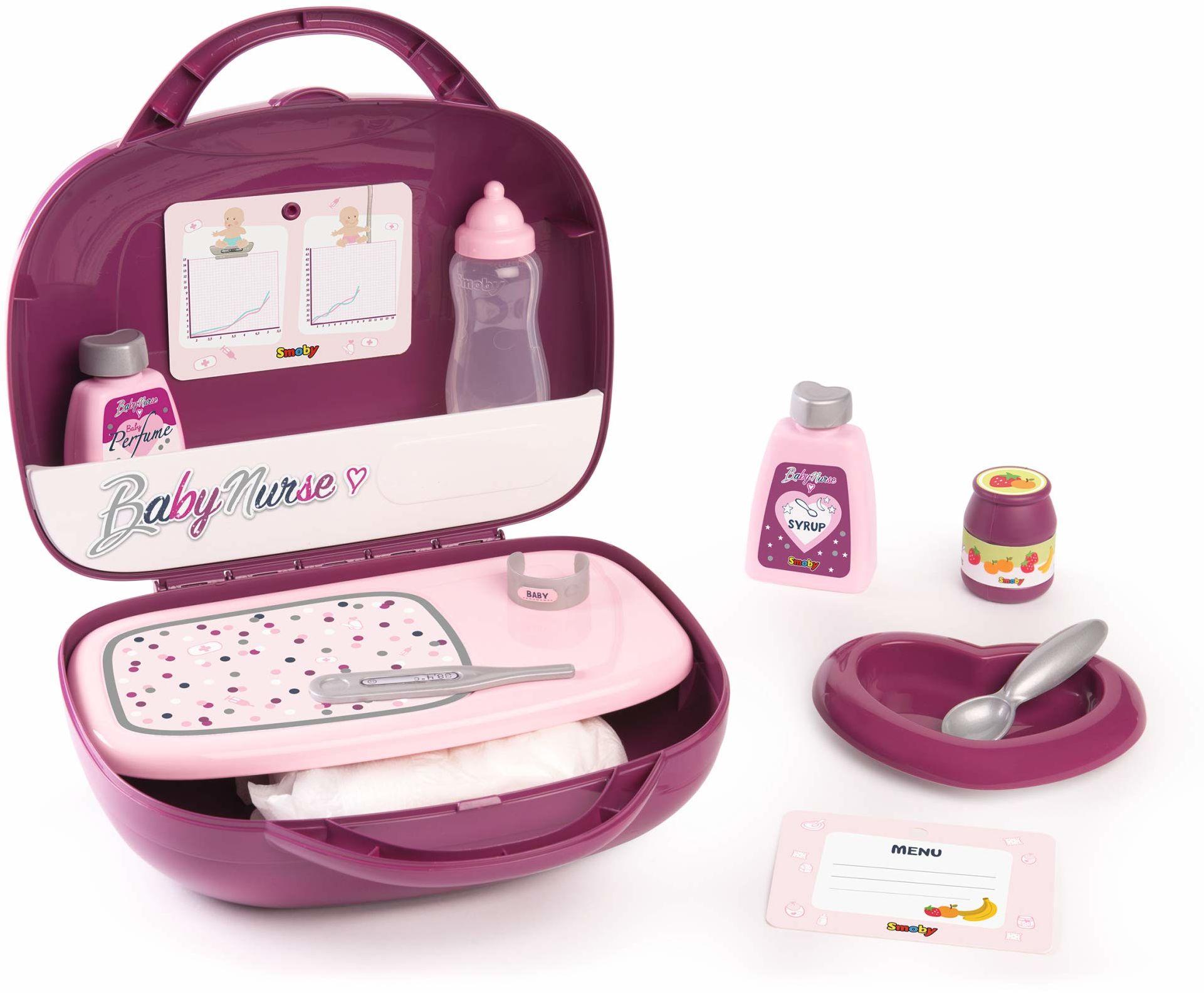 Smoby 220341 pojemnik na toaletkę dla niemowląt dla lalek 12 akcesoriów w zestawie