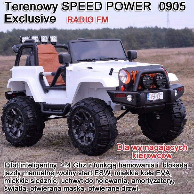 MEGA JEEP SPEED POWER EXCLUSIVE, WOLNY START/,MIĘKKIE KOŁA 0905