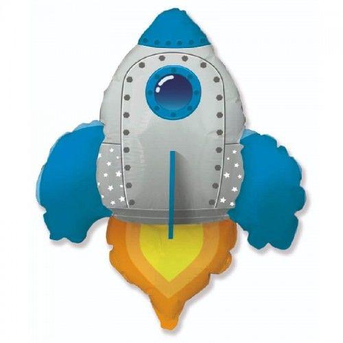 Balon foliowy Rakieta Kosmiczna, niebieska