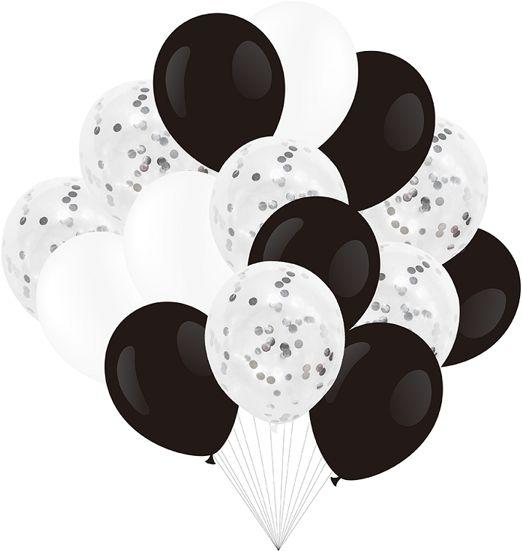 Zestaw balonów czarno białych z konfetti 30cm 15 sztuk 400501