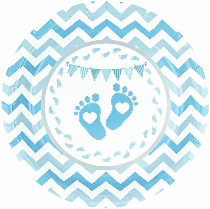 Talerzyki Stópki na Baby Shower niebieskie - 18 cm - 8 szt.