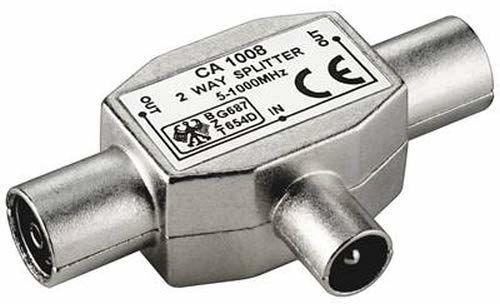 PremiumCord rozdzielacz anteny TV IEC 75 omów, 1 x wtyczka na 2 x gniazdo, złącze koncentryczne, antena Coax, DVB-T, kolor srebrny