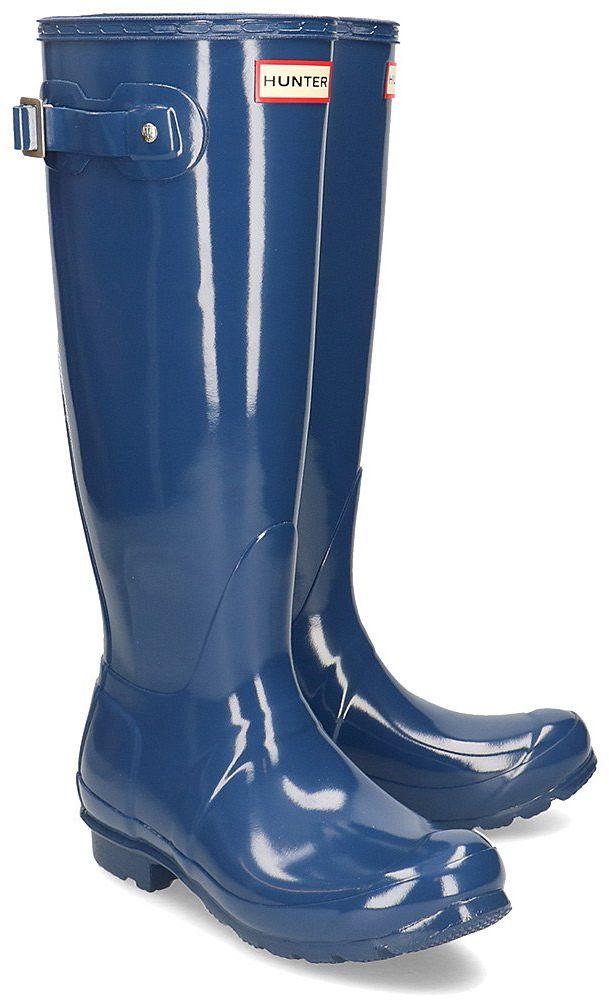 Hunter Original Tall Gloss - Kalosze Damskie - WFT1000RGL PEAK BLUE - Niebieski Granatowy