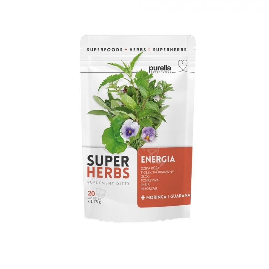 Purella SuperHerbs mieszanka ziół energia 20 saszetek