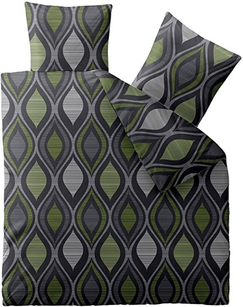 aqua-textil Concept pościel 200 x 200 cm 3-częściowa poszewka na kołdrę z mikrofibry Kacey Retro zielono-szara