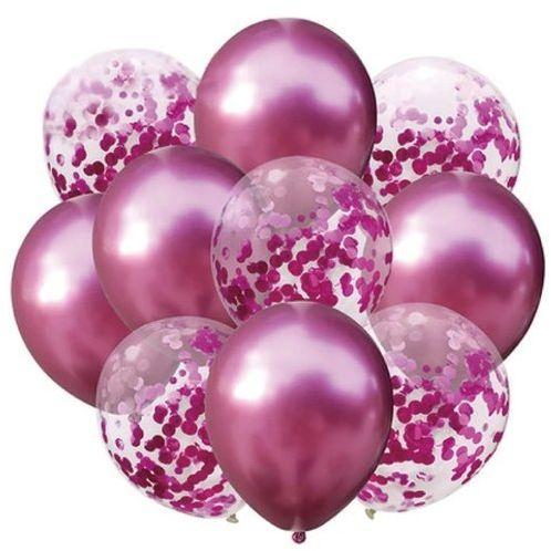 Zestaw balonów ciemnoróżowy chrom i konfetti 30cm 10 sztuk 400414