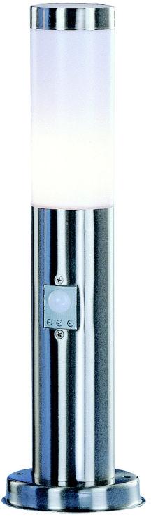 Globo lampa stojąca Boston 3158S stal nierdzewna, tworzywo sztuczne opalizowane,z czujnikiem ruchu IP44