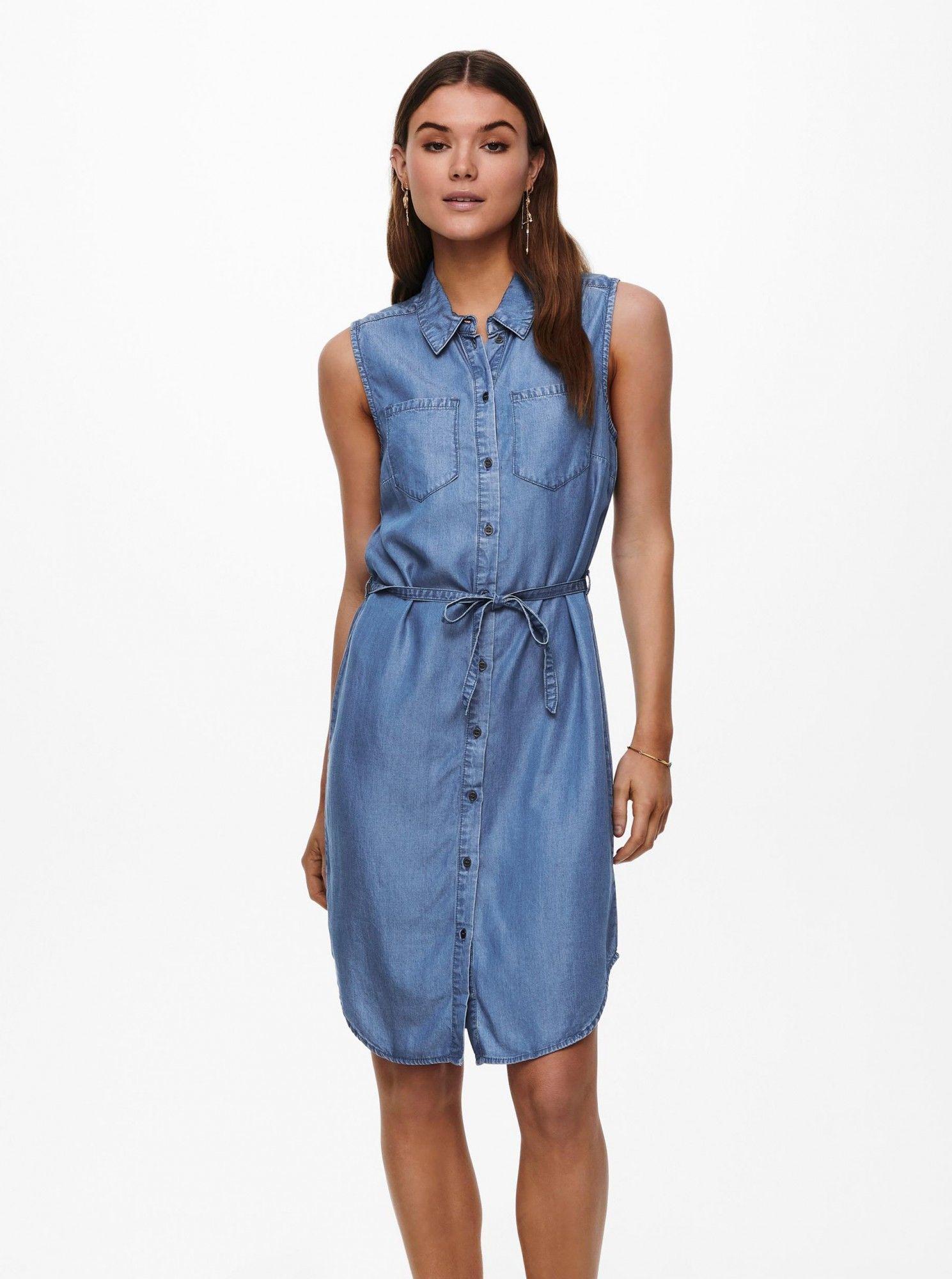 Only niebieski koszulowa dżinsowa sukienka Claire