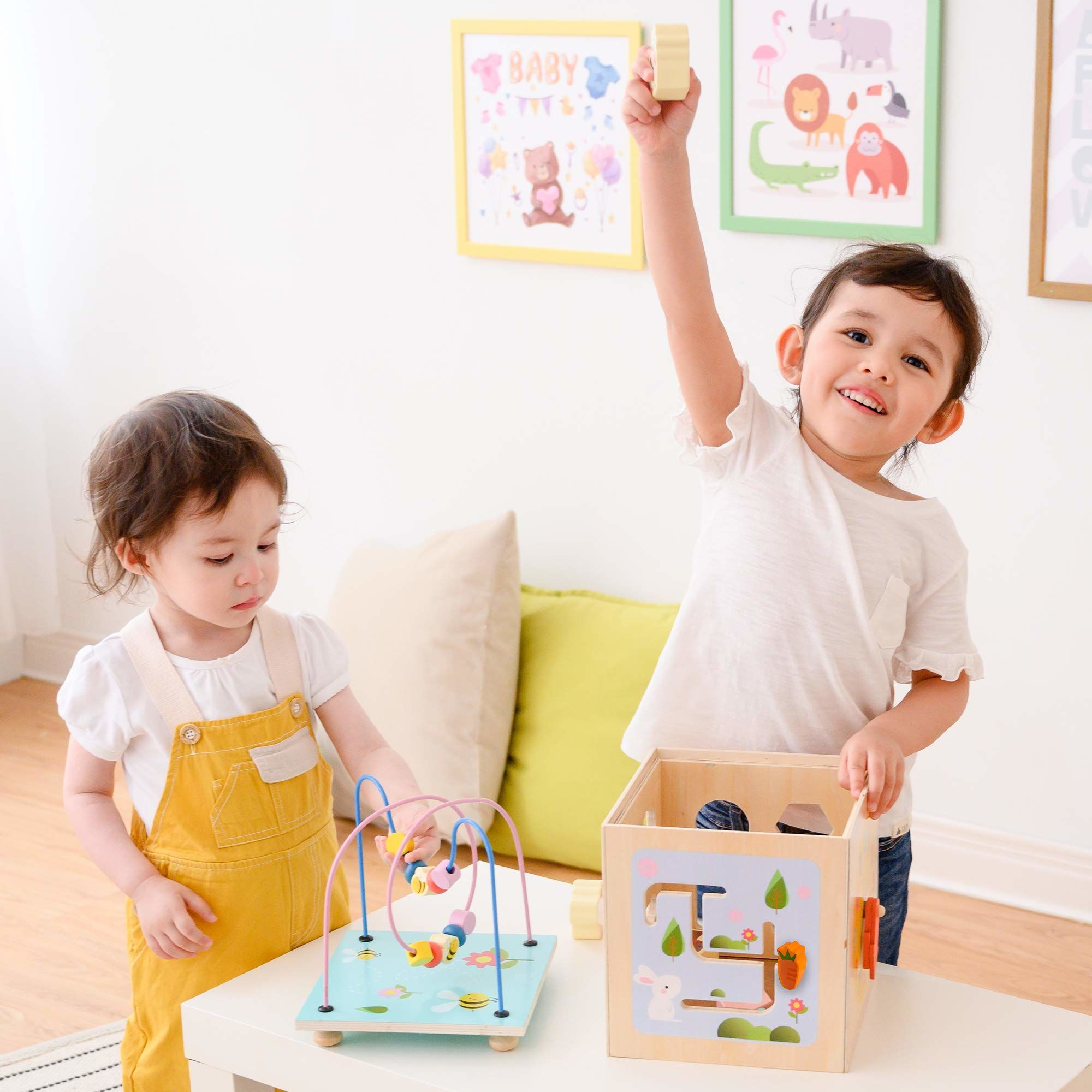 Teamson Kids PS-T0006 Przedszkole 5 w 1 drewniana kostka aktywności, wielofunkcyjna zabawka edukacyjna, koralik labirynt, sorter kształtu kolorów