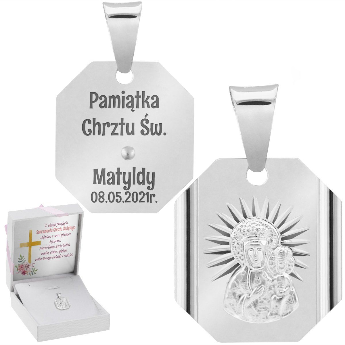 Srebrny Medalik Z Matką Boską Częstochowską Grawer