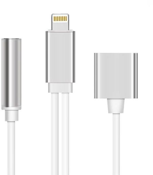 Kabel przejściówka lightning do iPhone audio mini jack srebrny