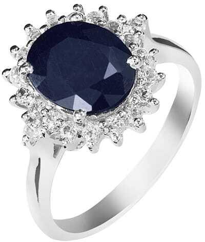 KATE Srebrny pierścionek z dużym szafirem owal 4 ct.