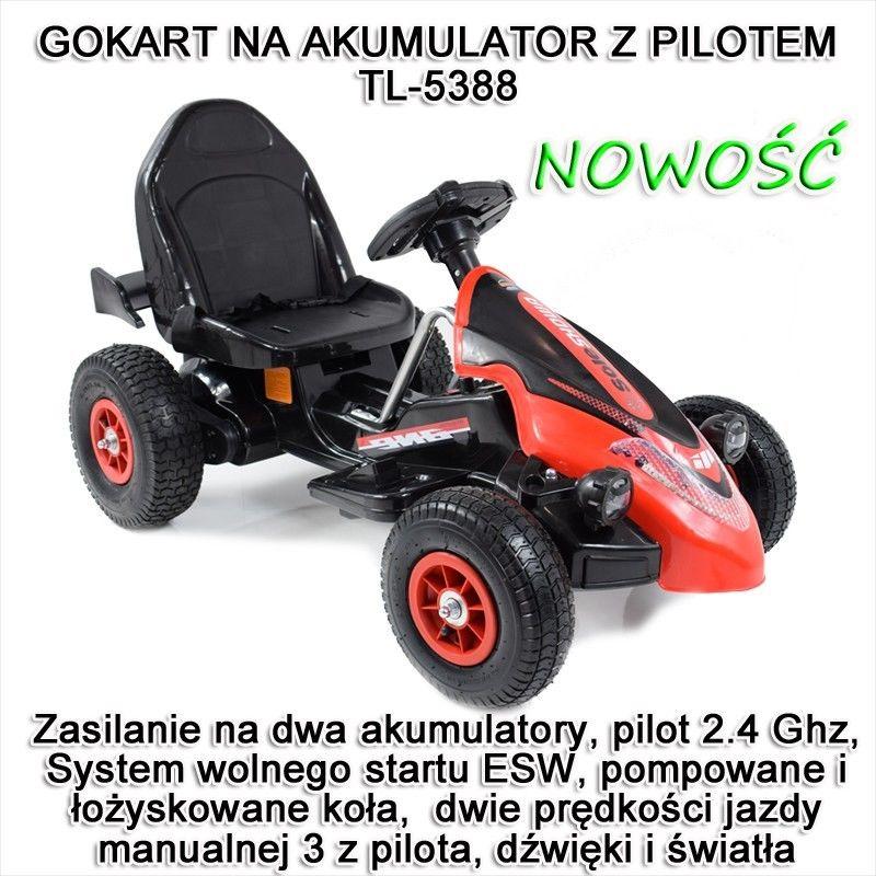 Gokart na akumulator sterowany pilotem, wolny start, hamulec, pompowane koła /TL5388