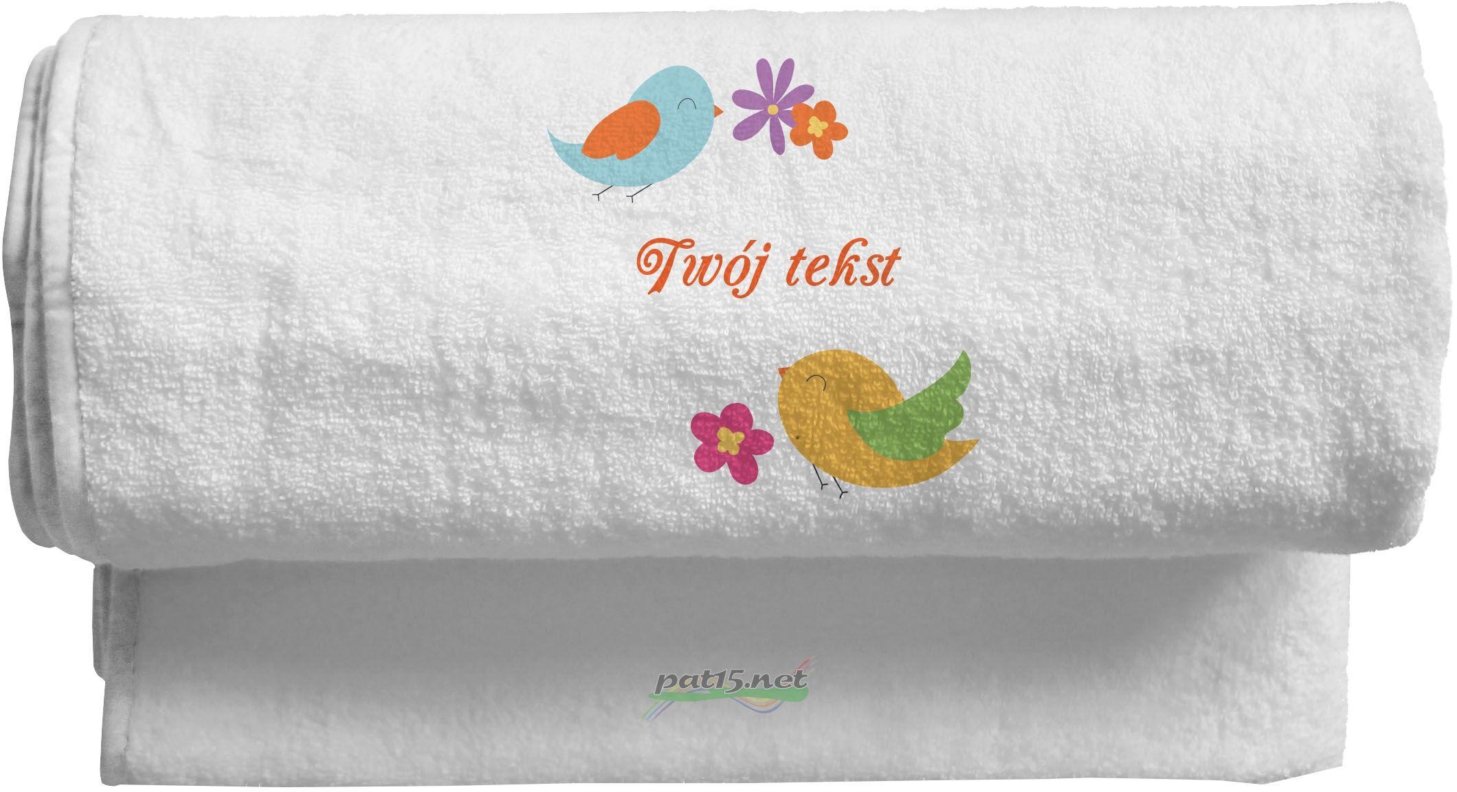 Duży Ręcznik 140x70 z haftem + tekst - Wzór 04