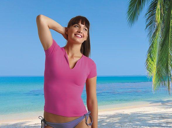 Koszulka damska T-shirt damski dekolt w łezkę 90% bawełna Cancun Valento