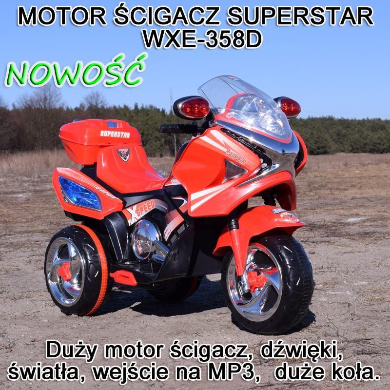 MOTOR ŚCIGACZ SUPERSTAR NEW DESIGN, DŹWIĘKI, ŚWIATŁA/WXE358D
