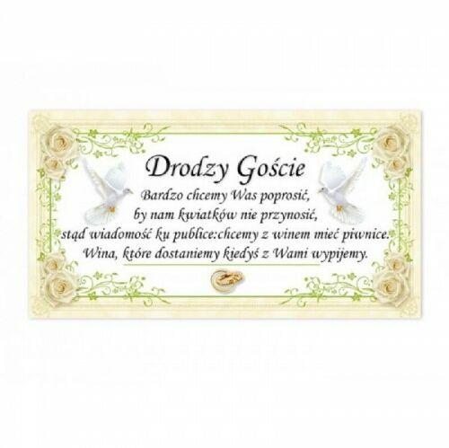 Bilecik do zaproszenia na wesele - Wino zamiast prezentów, Róże i Florystyczny Ornament 20 szt.