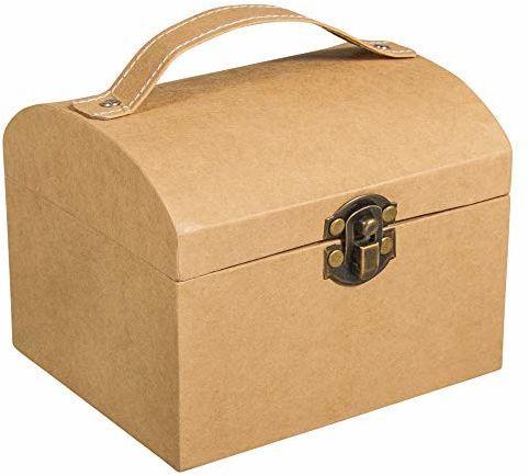 Rayher 67280521 walizka z masy papierowej, 13 x 11 x 10 cm, z zamknięciem i uchwytem, certyfikat FSC, mała walizka z masy papierowej