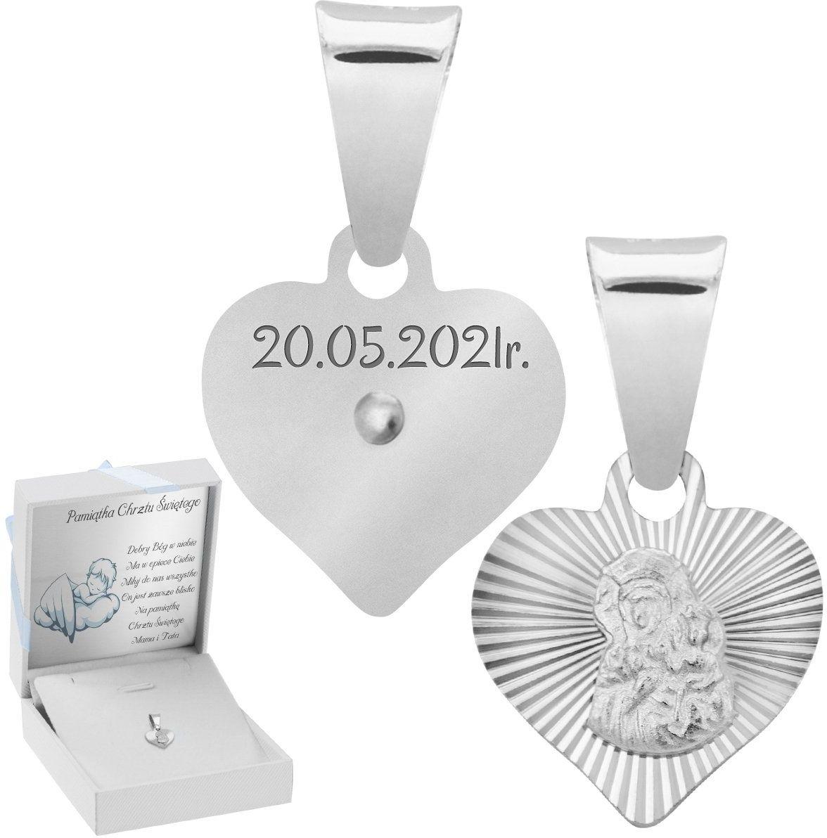 Srebrny Medalik Matka Boska Częstochowska w Sercu Grawer