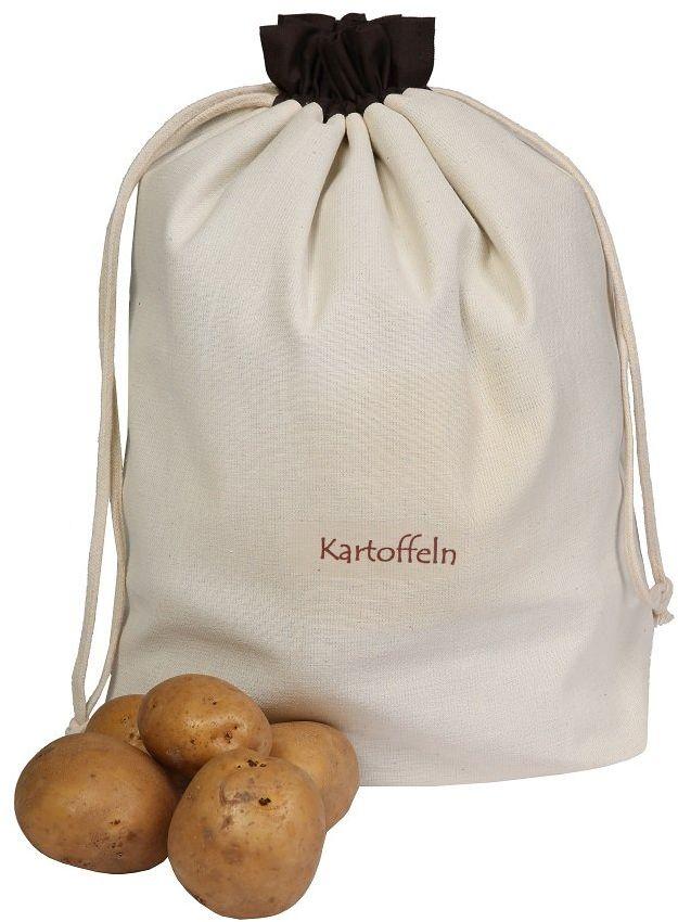 Woreczek na warzywa z bawełny, do ziemniaków, praktyczne i piękne przechowywanie, chroni przed światłem i zarazkami, 36 x 37 cm