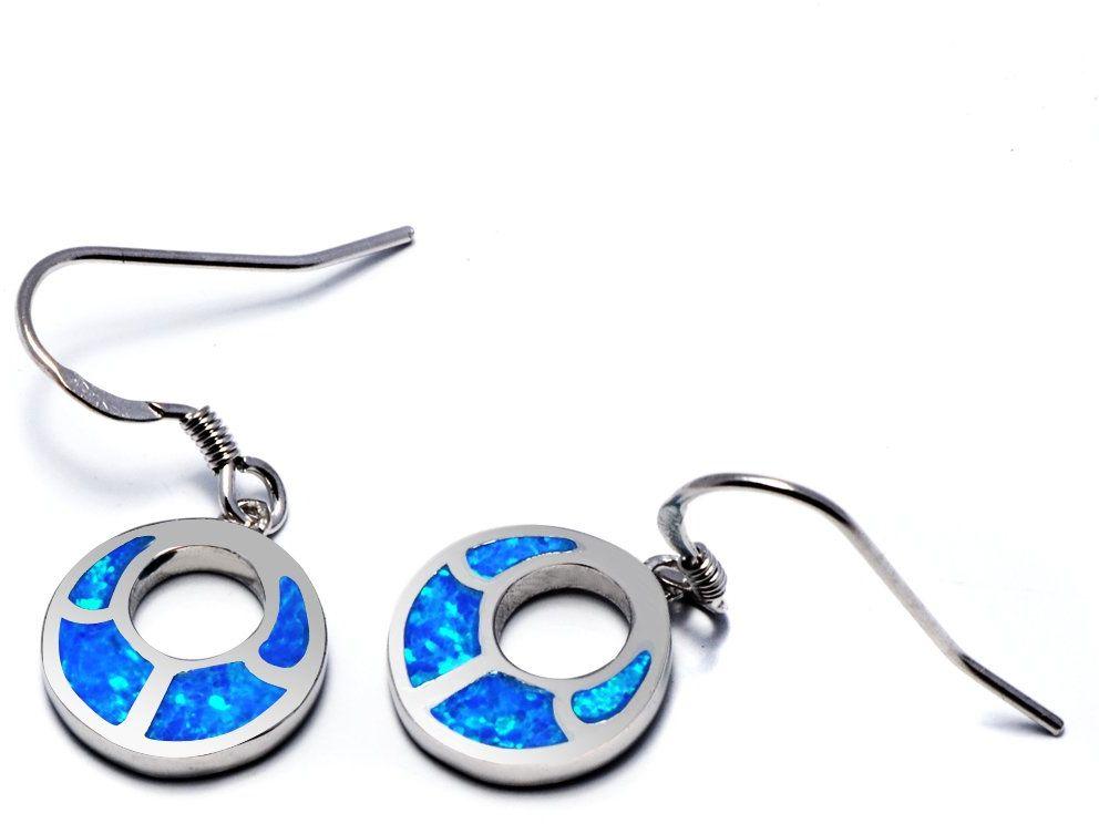 Srebrne Kolczyki z Niebieskim Opalem - Kolczyki
