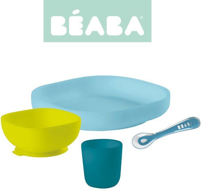Beaba Komplet naczyń z silikonu blue 913428- Beaba, naczynia dla najmłodszych