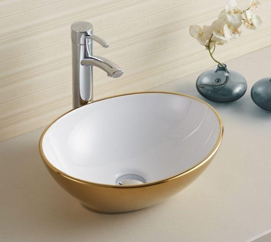 Umywalka ceramiczna 40 Sofia Gold/White Rea (REA-U0456)
