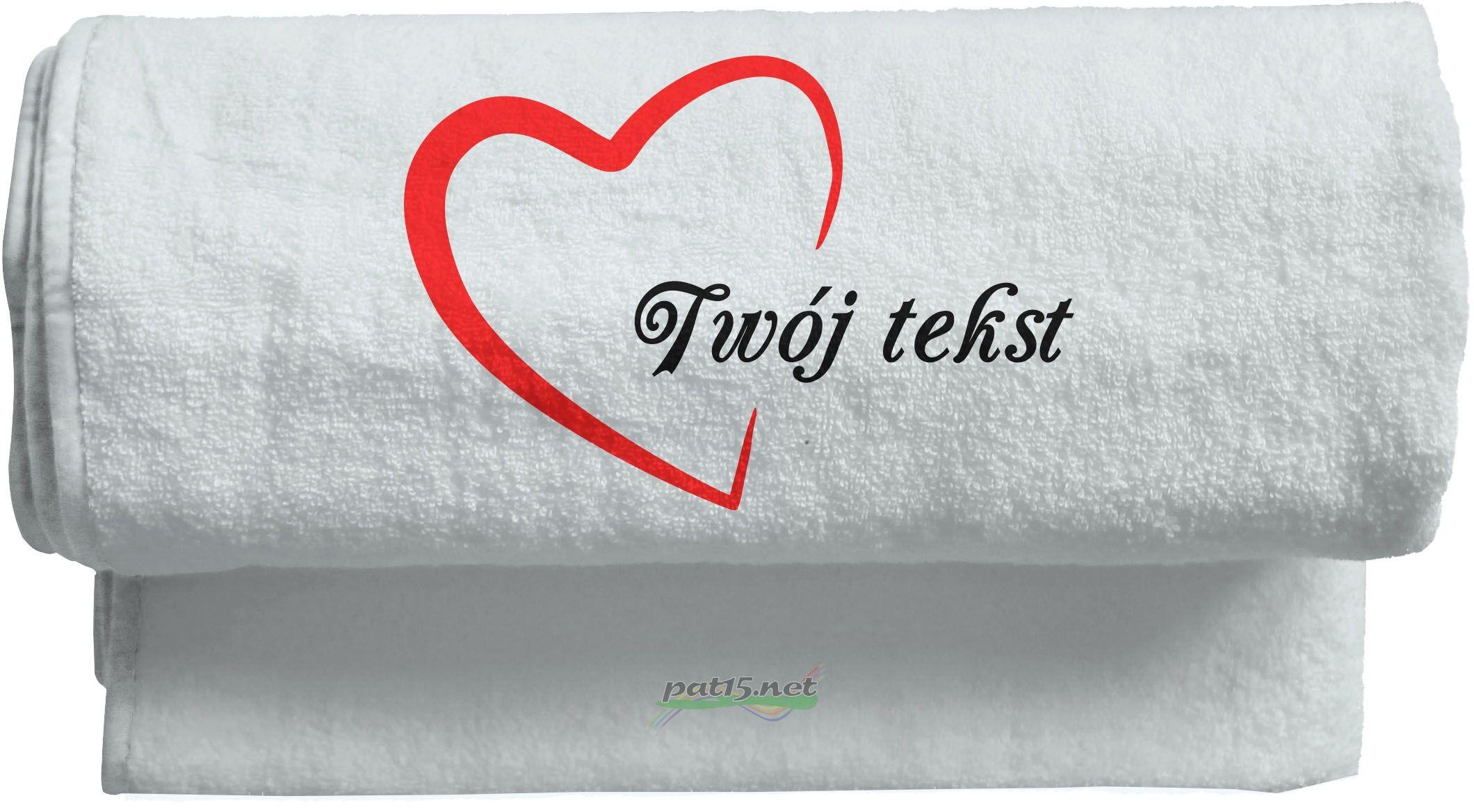 Duży Ręcznik 140x70 z haftem - Serce Wzór 01