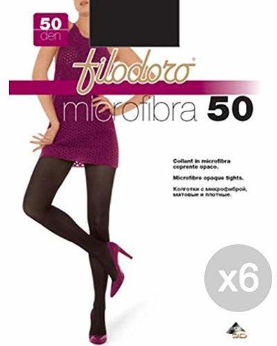 Filodoro zestaw 6 mikrowłókien, 50 sztuk, 4 l, czarne rajstopy dla kobiet, wielokolorowe