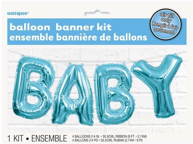 Balonowy baner Baby niebieski - 2,74 m - 1 kpl